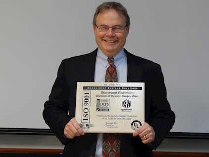 COO John Reynertson and the ISO 9001 Recognition