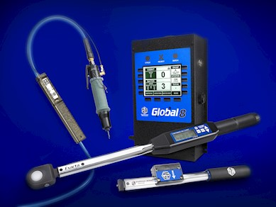 Global 8 with wireless click wrench, radio equipped digital torque wrench and pneumatic wrench