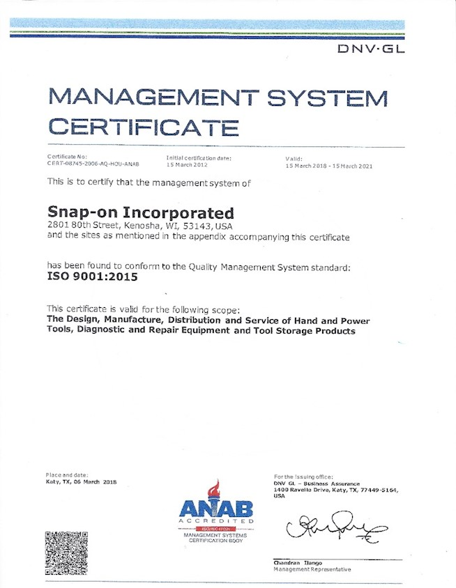 ISO 9001 Certificate for Sturtevant Richmont
