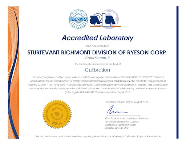 Sturtevant Richmont A2LA ISO 17025 Accreditation 2020